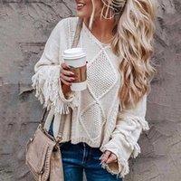 Sweaters pour femmes Boho Inspiré Tricotwear Fringe Pull à manches longues Femmes Baggy Pullgy Dames Automne Hiver Tops Jumper Bohemian