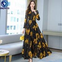 2021 Summer Black Print Maxi Dress New Arrival High Quality Plus Size S-4XL Flower Long Sleeve Women Chiffon Long Dress Vestidos