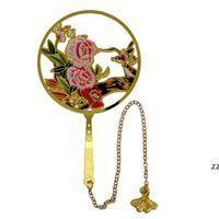 Kinesisk stil Hollow Out Blommor Bokmärke Metallbokmarklare för Party Favorit Graduation Present Födelsedag Bröllopsgåva HWF8433