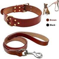 Conjunto de correa de cuello de perro de perros de cuero real para cuello de cuero genuino de raza de perro grande mediano para pitbull boxer bulldog s m l p0831