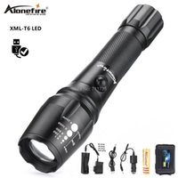 Alonefire G900 CREE XM-L T6 LED 5000LM Su Geçirmez Yakınlaştırılabilir Meşale Işık 18650 Şarj Edilebilir Pil ve Şarj Fenerleri ile Torches