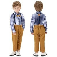 Clothing Sets Toddler Boys Springs Autumn Long Sleeve Plaid Bowtie Tops+Suspender Pants Kids Outfit Formal Child Clothes