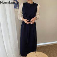 Casual Dresses Nomikuma Korean Chic Autumn Dress Women Contrast Color Patchwork Long Sleeve O Neck Elegant Vintage Robe Femme
