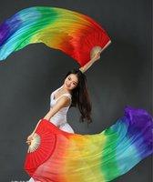 120 cm 150 cm 180 cm handgemachte Bauchtanz Tanzen Seide Bambus Lange Fans Schleier Kunst Bunte Schwarz Weiß Gradient Bühnenverschleiß