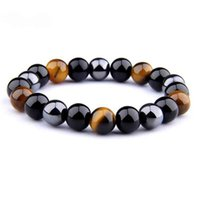 Natural Hematite Black Obsidian Tiger Eye Stone Triple Protection Bracelet For Men Women