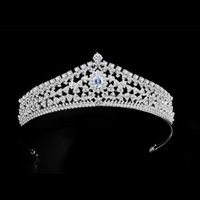 Luxury Jewelry Bride Noiva Wedding Tiaras And Crowns Bling Rhinestone Zircon Headbands For Women Girls Hair Ornaments Clips & Barrettes