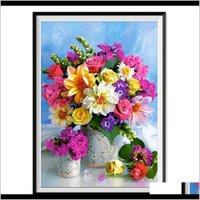 Paintings Arts, Crafts & Garden Drop Delivery 2021 Home Decor Diy 5D Painting Cross Stitch Rose Flowers Mosaic Diamond Embroidery Sewing Patt