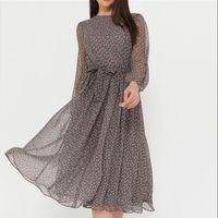 Shyloli Zarif Nokta Baskı Uzun Kollu Kadın Elbiseler 2021 Boho Rahat O-Boyun Şifon A-Line Elbise Vintage Parti Vestidos