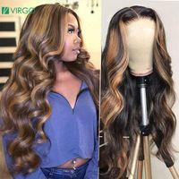 Кружевные парики мед белокурая коричневая подсветка парик человеческих волос волосы волна тела фронт 4 27 ombre для женщин 150% фронтальные