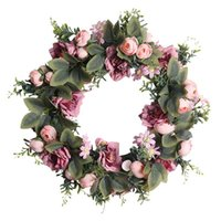 Decorative Flowers & Wreaths Artificial Camellia And Roses Wreath For Front Door Window Wall Party Wedding Venue Layout Props Farmhouse Home