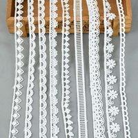 5yards / lote branco algodão bordado lace guarnição fitas tecido diy costura artesanato artesanato materiais roupas roupas acessórios 210512