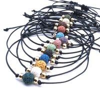 10 mm Colorido negro blanco Lava Beads Lover Pareja Pulsera Ajustable Cuerda Pulsera Pulsera Esencial Aceite Difusor Regalo Regalo