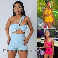 Women tracksuit Outfits 2021 summer new Designer Fashion women's solid color irregular sleeveless T-shirt high waist slim shorts Two-piece sets meet0606