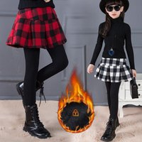 Trousers Girl Kids Winter Skirt Leggings Cotton Plaid Pants For Girls Thicken Warm Children Clothing