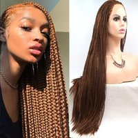 Synthetic Wigs Long Braided Dark Brown Color High Temperature Fiber Hair 3x Twist Braids Free Part Made Hand For Women