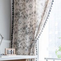 Curtain & Drapes Country Style Cotton Linen Curtains For Living Room Bedroom Semi-Blackout Window Treatment Kitchen Ready Made