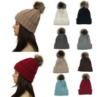 Women Pom Pom Beanie 9 Colors Outdoor Winter Warm Fur Ball Hat Skull Beanie Solid Knit Crochet Cap LJF11085