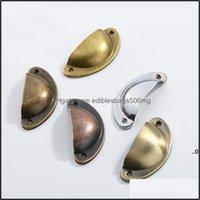 Pls Hardware Building Supplies & Gardenretro Knobs Handles Metal Home Der Cabinet Door Furniture Knob Handware Cupboard Antique Brass Shell