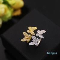 Fashion Classic 4 / Four Leaf Clover Open Butterfly Band anelli S925 argento 18 carati oro con diamanti per womengirls giorno di San Valentino ENG