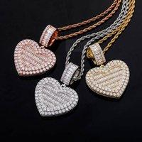 Gold argento oro oro colore amore cuore pendenti foto cornice memory medaglioni pendenti collane per uomo rapper gioielli con catena di twist da 3 mm
