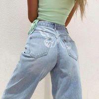 Women's Jeans Butterfly Pattern High Waist Stretch Slim Denim Pants 2021 Spring Summer Blue Retro Elastic Straight