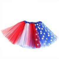 3 레이어 생일 파티 메쉬 여자 스커트 미국 국기 색상 빨간색 흰색 파란색 5 성급 탄성 허리 투투