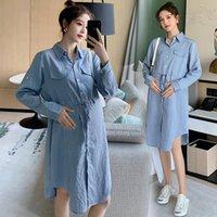 6925 # 2021 Primavera Vertical Stripes verticales Blusas de maternidad Vestido Cintura Cintura Slim Ropa para mujeres embarazadas Vestidos de embarazo casuales