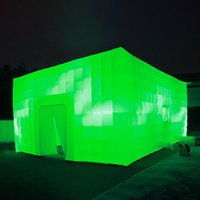 Personalized 4X4X3.2 meters LED lighted white inflatable cube tent square tents blow up photo booth for Camping Party Wedding