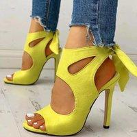 Сандалии тонкие высокие каблуки женские туфли бабочка-узлы на шнуровке ретро пустотелые сексуальные вечерние вечеринки opentoe плюс размер 40-44