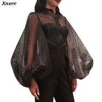 Frauen Blusen Hemden Xnxee Vintage Polka Dot Puff Sleeve Single Breasting Cardigan Bluse Frauen Tops Plus Größe Koreanische Mode Kleidung