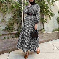 Casual Dresses ZANZEA Women Autumn Plaid Checked Sundress Muslim Dress Vintage Long Puff Sleeve Party Plus Size Kaftan Vestido Femme Robe