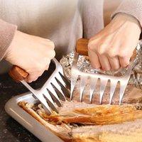 Viande déchiqueteuse griffes BBQ Outils de résistance à la température élevée Température TRANCEAU CHAQUE PORTE DE PORC FOURCHE AVEC POIGNAGE EN BOIS HWB8720