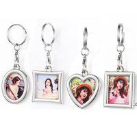 Personalized Sublimation Blank Photo Frame Keychain Pendant Portable Heat Transfer Album Key Chain DIY Gift Keyring EWA7310