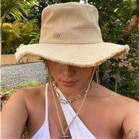 Summer Women's Bucket Hats Raw Edges Canvas Drawstring Women Sun Hat