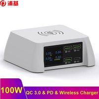 100W 멀티 QC 3.0 USB PD 충전기 아이폰 8 xs 12 11 PRO 최대 빠른 휴대용 충전기 빠른 무선 충전기 SAMSUNG S20 S9