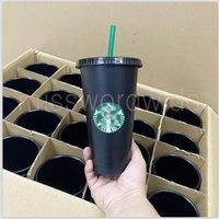 DHL Starbucks caneca 24oz copos de copos de plástico bebendo suco com lábio e palha café mágico personalizado transparente duplo Durian Durian Durian Presente de copo MS13