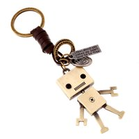 DIY 합금 로봇 크리 에이 티브 키 체인 배낭 작은 펜던트 손 짠된 가죽 열쇠 고리