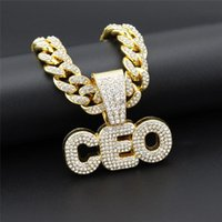 Hip Hop Letter CEO Pendant Necklaces For Women Men Cubic Zir...