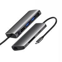 Multifonctionnel 7 en 1 USB-C HUB 2XUSB3.0 HDTV SD TF Card Reader RJ45 Gigabit Ethernet PD Chargement pour MacBook Tablet