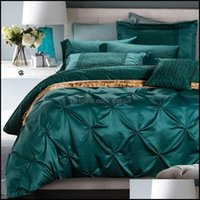 Sets Supplies Textiles Home & Gardensvetanya Dark Green 3D Embossed Embroidery Silk Cotton Bedlinens Print Queen King Bedding Set Sheet Pill