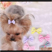Dog Supplies Home & Gardendog Bows Clip Pet Cat Puppy Grooming Striped Bowls For Hair Aessories Designer 5 Colors Mix Wx9-778 Drop Delivery