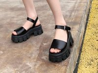 2021 early spring new catwalk style sandals fashionable temperament ladies thick-soled sandals high-end lambskin material size 35-41