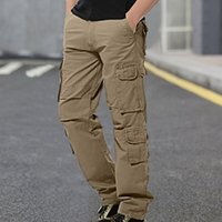 Men's Pants Mens Mid-waist Zip Cargo Relaxed Fit Solid Trousers With Multi-pocket Tactical Oversize Sweatpants Male