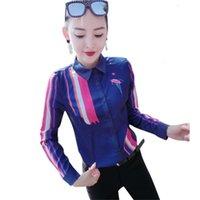 Lüks Ipek Saten Pist Mavi Gömlek Kadınlar Uzun Kollu Yaka Boyun Baskılı Bayanlar Düğme Bluz Artı Boyutu Ofis Tasarımcısı Gömlek Tops
