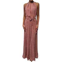 Casual Dresses Vintage Dress Women Summer Dot Printed Sleeveless Beach Maxi Sundress Sexy Party Evening Vestidos