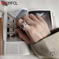 Cluster Rings Besimpol 925 Sterling Silver Crude Line Weave Irregular Industry Style Fashion Adjustable For Women Luxury Jewelry Gift