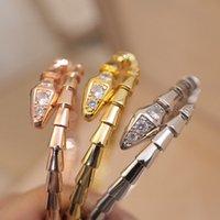 Designer Women Serpent Diamond Bangle Bracelet Luxurys Designers Bracelets Italy Brand Lady 18K Gold Snakehead Scale Diamonds Luxury Jewelry With Gift Box