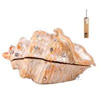 Objetos decorativos Estatuetas HD Caixa de trinket articulada padrões pintados à mão de jóias colecionáveis (Conch trinket)