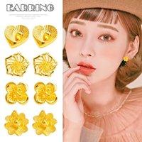 Imitation 24K Yellow Gold Rose Flower Ear Studs Earrings Jewelry Accessories For Women HELH889 Stud
