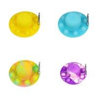 7 colores sensory fidget empuje burbujas juguete juguete doble cara chanclas con hebilla de montañismo juguetes dedo dedo ansiedad antiestrés alivio 4214 Q2
